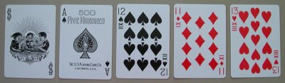 six handed 500 playing cards