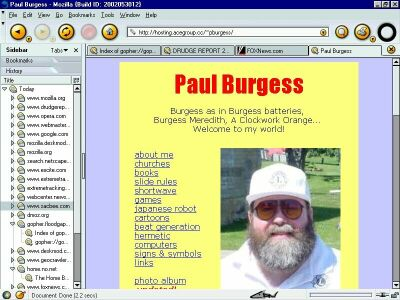 my personal website ca. 2002